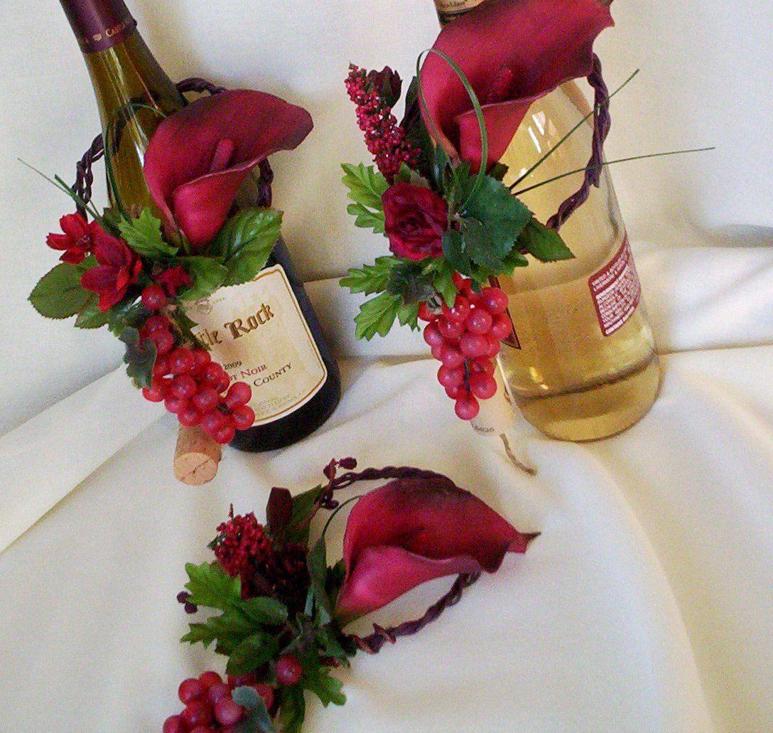 Flower Arrangements In Wine Bottles: 10 Centerpieces Italian Event Wine Bottle Toppers Deep Red