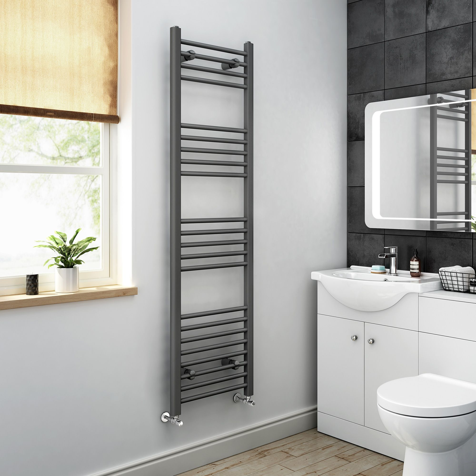 1600x450mm Anthracite Heated Straight Rail Ladder Towel Radiator