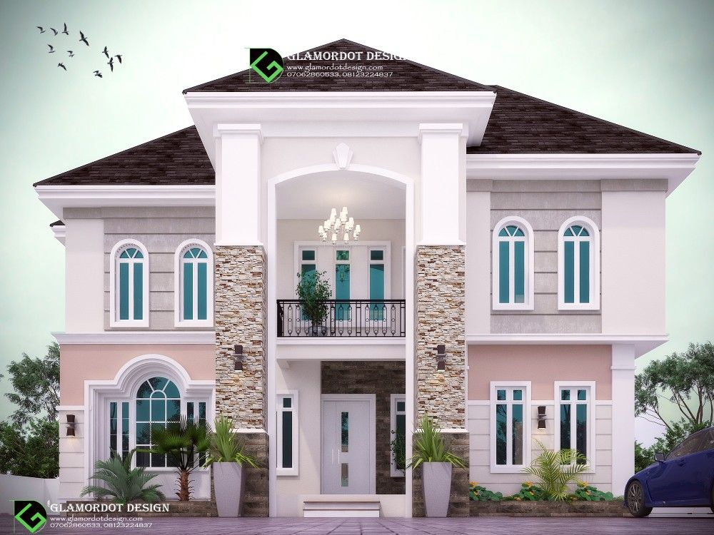 Architectural Design Of A Proposed 6 Bedroom Duplex In Anambra State Nigeria All Rooms Ensuit With 2 B Duplex House Design Bungalow House Design Duplex Design