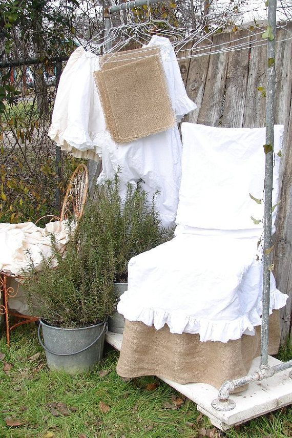 Chair Slipcover French Country Natural Cotton Muslin Slip Cover Shabby Frayed Ruffle