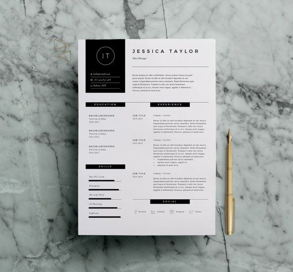Resume Template   Page Cv Template W Cover Letter For Ms Word