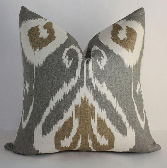 Gray Amp Tan Pillows For Couch Ikat Pillows Pillows