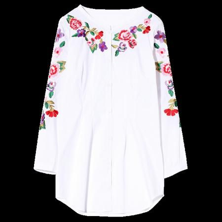Floral Embroidered Long Sleeve Long Shirt