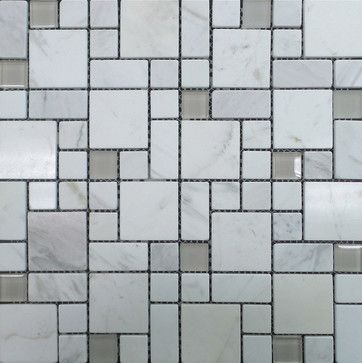 Random Gl And Marble Mosaic Tile Carrara White Contemporary