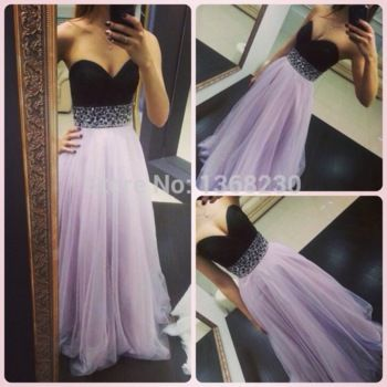 Black and Lilac Evening Dresses 2015 New A Line Sweetheart Long Formal Gown with Bead Waist Custom Made P086