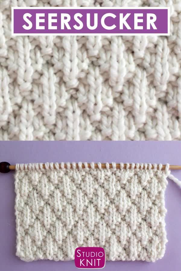 Love this classic texture! The Seersucker Stitch Knitting Pattern creates rows of puckered diamond shapes edged with stockinette ridges. This 8-Row Repeat Knit Stitch Pattern looks like a complex raised pillowy design, but it achieved with just a simple combination of knits and purls. #StudioKnit #knittingvideo #knitstitchpattern #seersucker #easyknitting