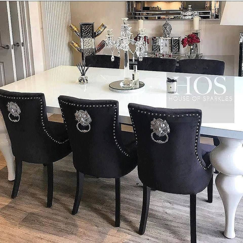 The 8 Seater Empire Deluxe Dining Set With Lion Knocker Chairs Dining Furniture Makeover Elegant Dining Room Outdoor Dining Furniture