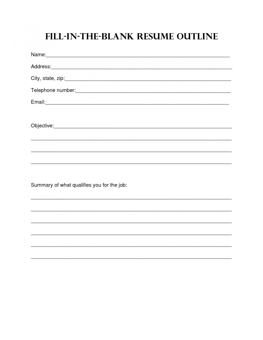 Blank Resume Template Sample