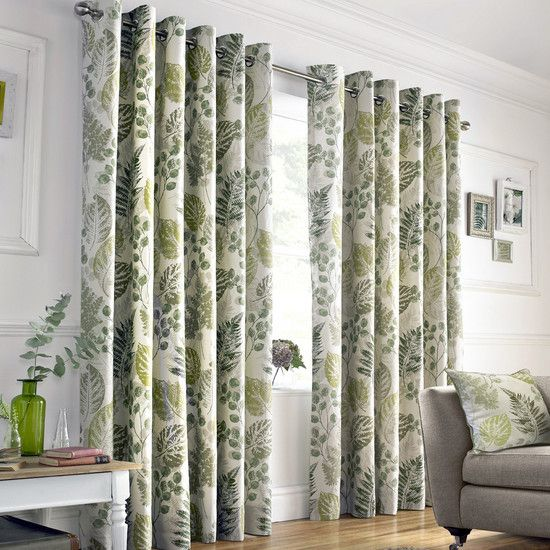 Green New Forest Lined Eyelet Curtain Collection Dunelm