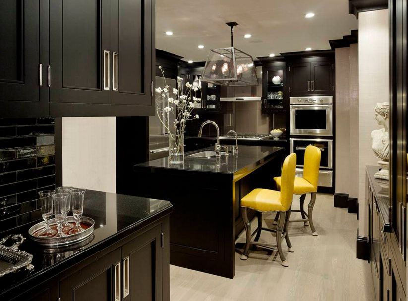 Black and drama with pops of yellow - Home Decorating Trends ...