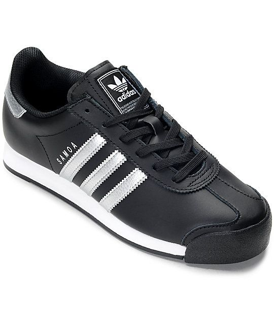 Grab the adidas Samoa Black and Silver Women s Shoes for clean retro  80s  styling. A runner inspired shoe equipped with a full grain leather upper 34bb867008d5