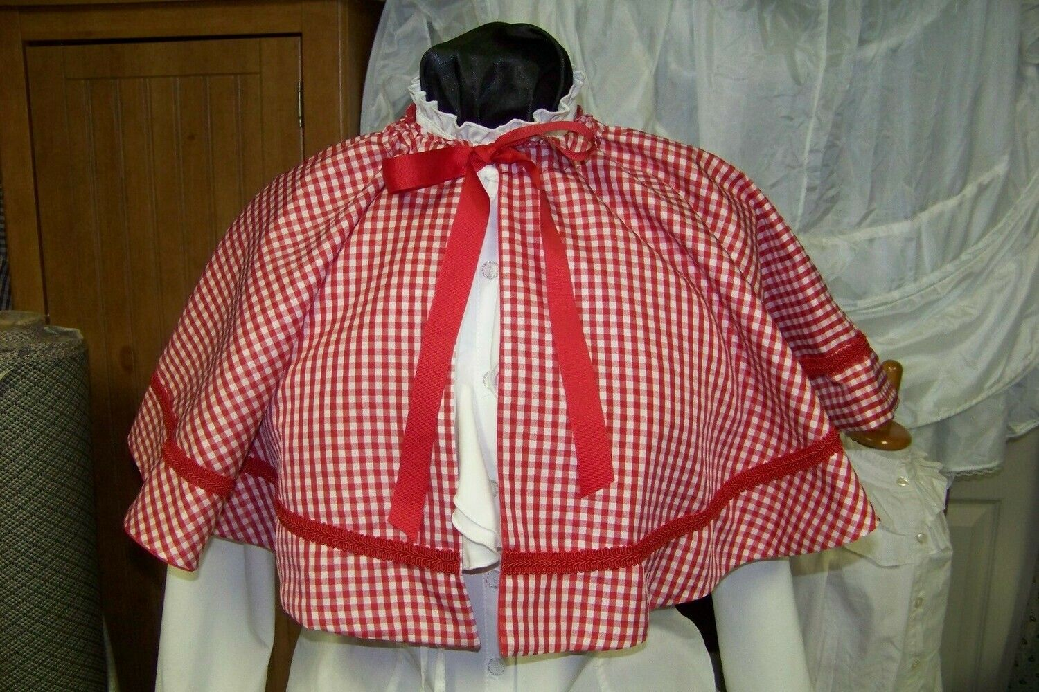 Dickens Civil War Ladies Long Skirt Sash and Cape one size fit all Pink Black Green plaid cotton homespun