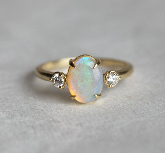 Vintage ring unique ring engagement ring unique engagement blue opal opal engagement ring opal ring diamond ring halo opal ring