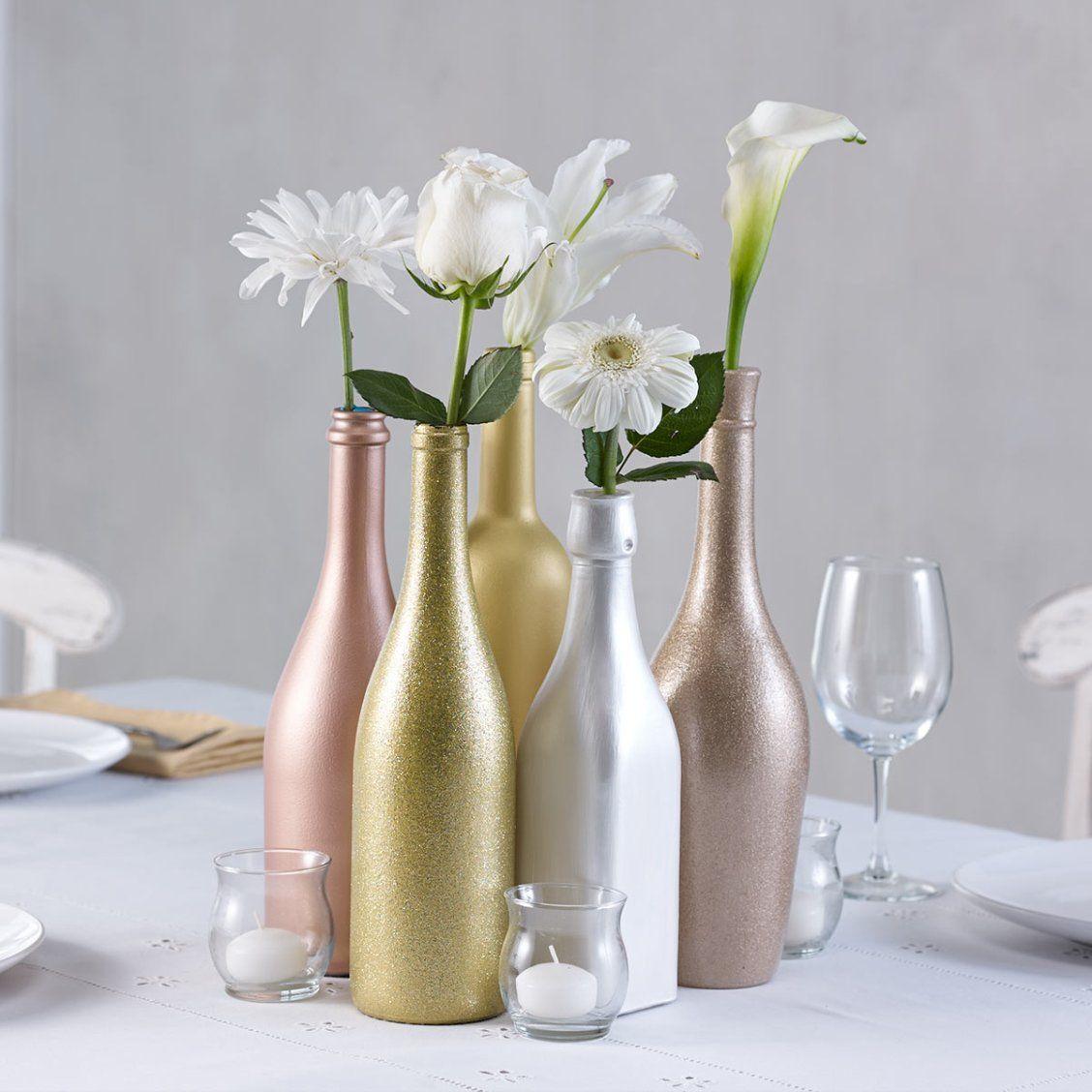 DIY Wedding Centerpiece - Metallic Bottles | Art Painted Bottles ...