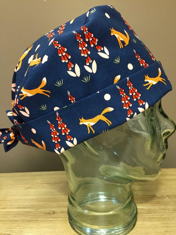 34d99db18032f Navy   Blush Pink Fox Surgical Scrub Hat
