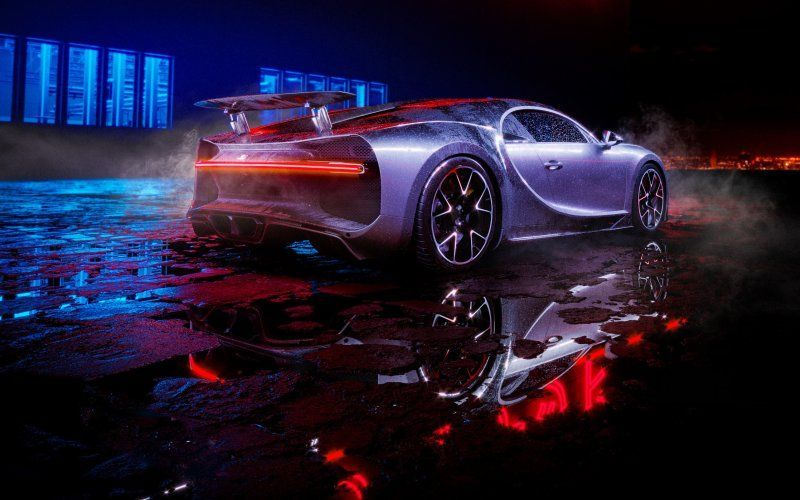 Wallpaper Wet Reflections Bugatti Chiron Rear View Bugatti