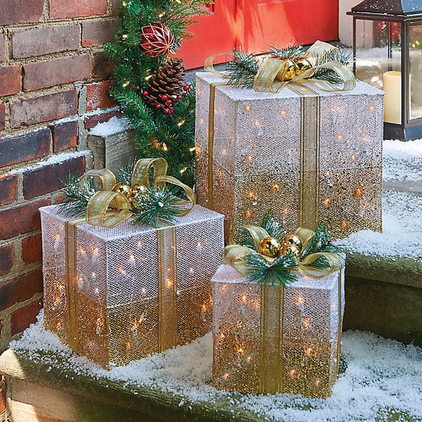 improvements lighted gift box christmas decor set of 3 50 liked on polyvore featuring home home decor holiday decorations indoor christmas
