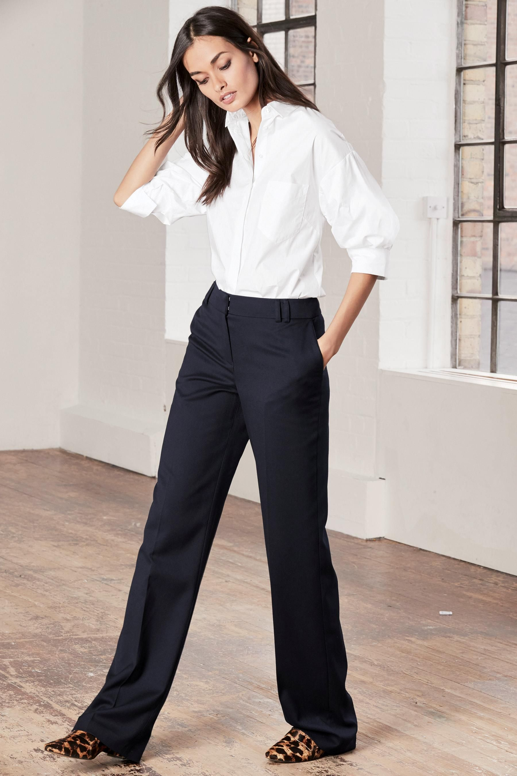 Buy Navy Tailored Slouch Trousers from the Next UK online shop  8a6e523d3