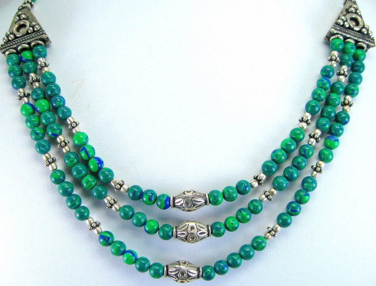 Blue Green Azurite Rounds 3 Strand Necklace India with Tibetan Silver Accents Description Three strands of the unusual Azurite rounds make up this lovely traditional necklace from India. Offered by #taylorsdreams on Bonanza