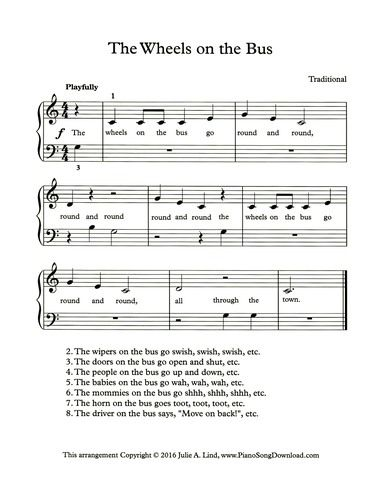 The Wheels On The Bus With Lyrics With Images Easy Piano
