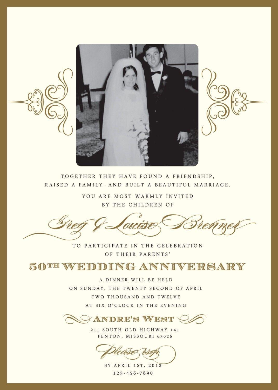 Golden Jubilee Marriage Anniversary Invitation Card Invitation By