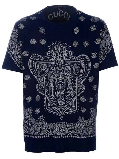3f96000ed Gucci Guccus Printed Crew Neck T Shirt | Mens Jersey Top Clothing ...