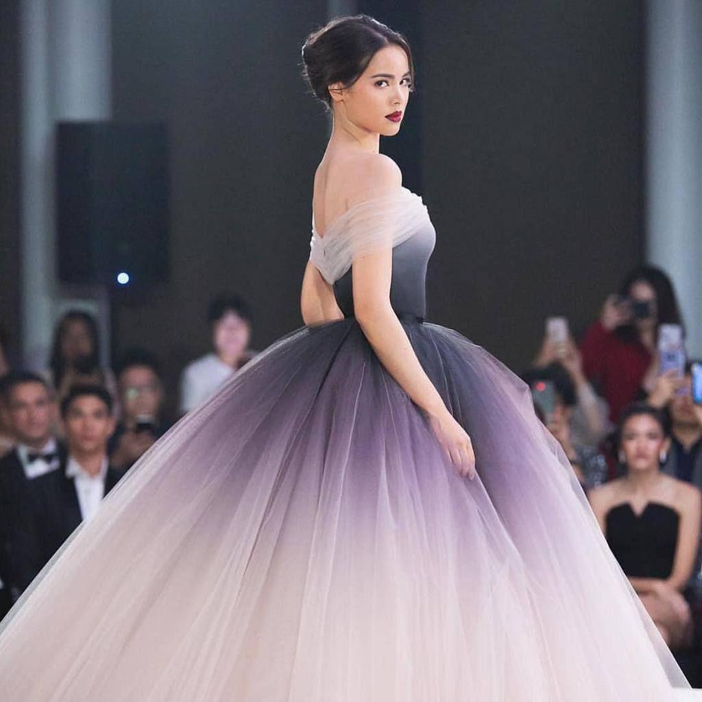 Off-the-shoulder Ombre Prom Dresses Unique Prom Dress Long Evening Dresses 31715466f