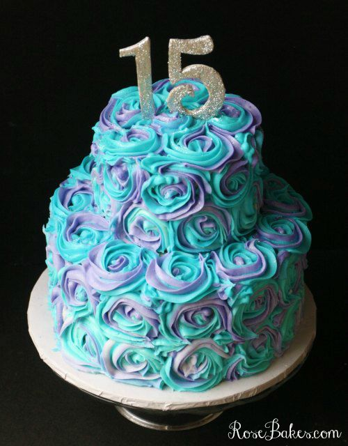 Teal Lavender Swirled Buttercream Roses 15th Birthday Cake