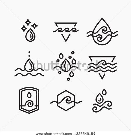 Vector Line Set Of Water Symbols Outline Isolated Icons Tattoo