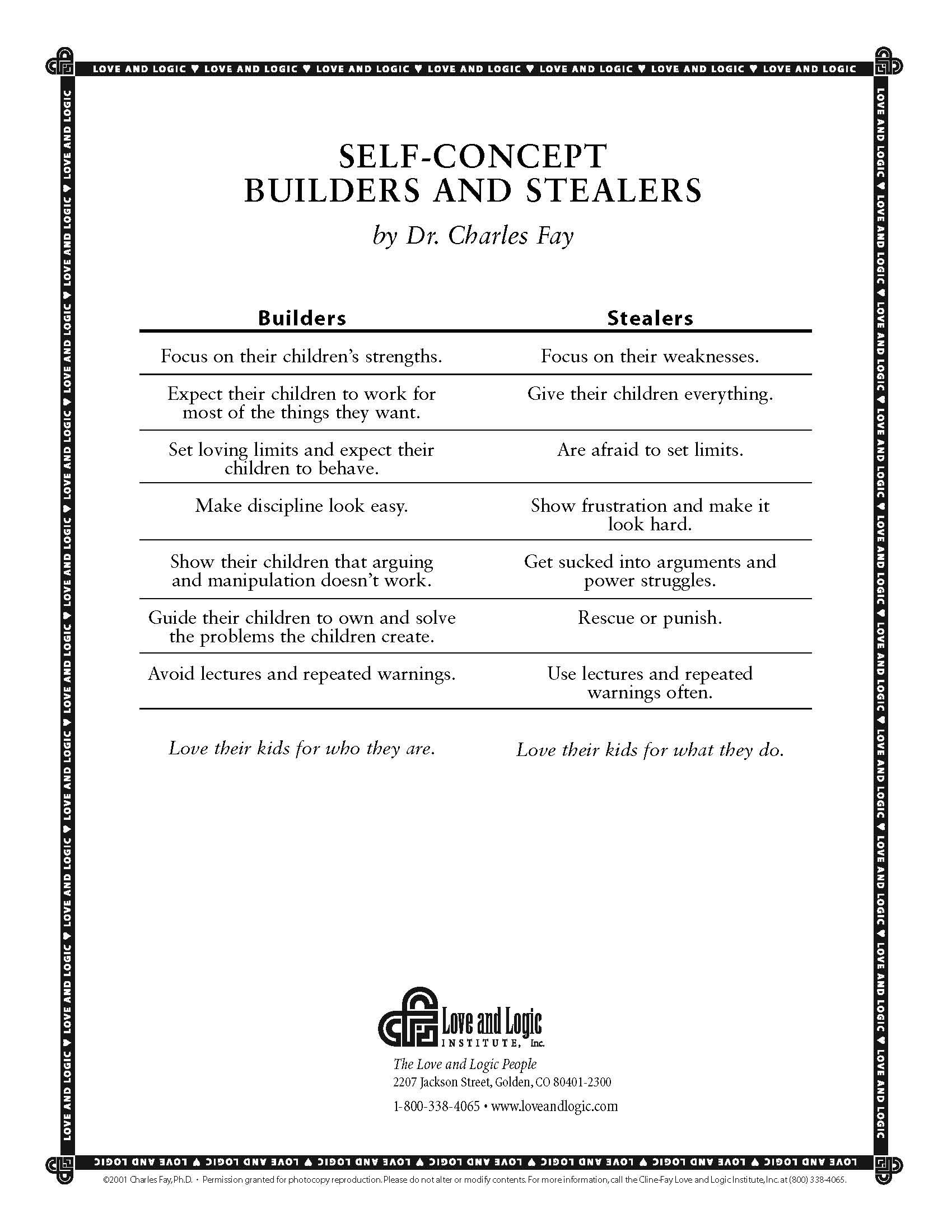 Self Concept Builders And Stealers