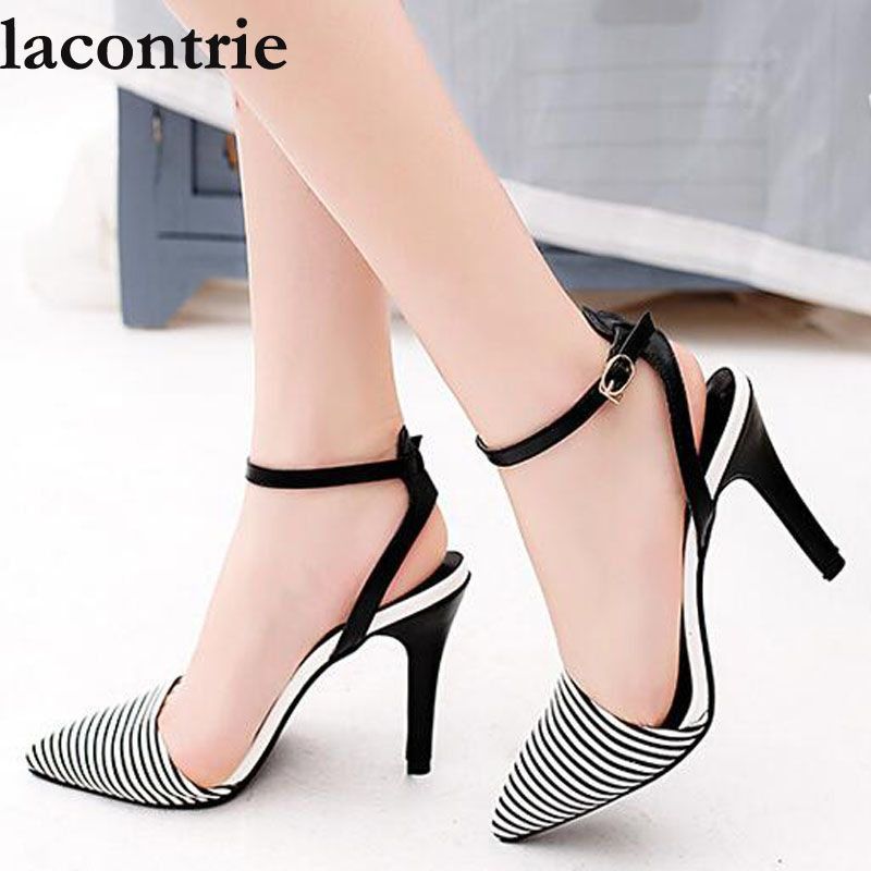 lacontrie 2017 Summer new style sexy stripe high heels fashionable sandals  women thin heel pointed toe