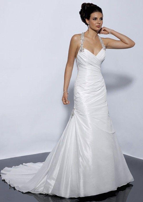 A-Line Halter Sweetheart Neck Taffeta Backless Bridal Wedding Gowns ...