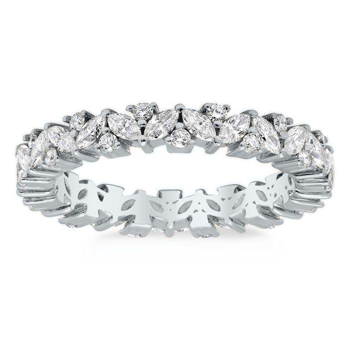 Marquise And Round Diamond Laurel Eternity Ring Eternity Ring Diamond Eternity Ring Diamond