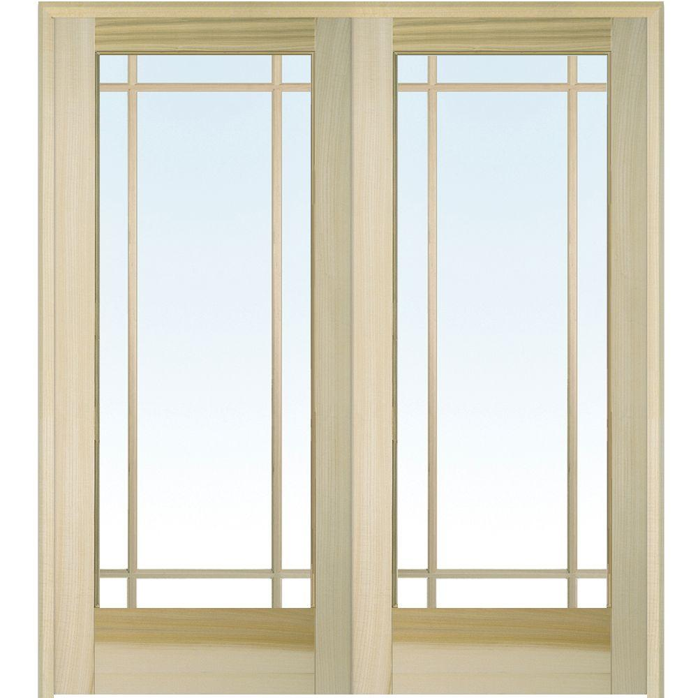 Mmi Door 60 In X 80 In Both Active Unfinished Poplar Glass 9 Lite Clear True Divided Prehung Interior French Door Z009512ba The Home Depot French Doors Interior Prehung Interior French Doors