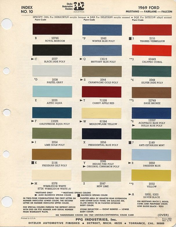 auto paint codes 1969 ford mustang color chart with paint mixing codes mustang pinterest. Black Bedroom Furniture Sets. Home Design Ideas