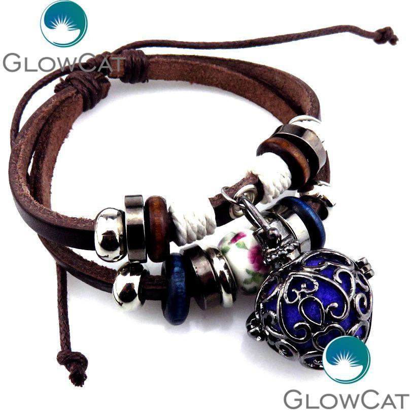 21870 Multilayer Leather Cuff Bracelet Flower Design Locket Cage Adjustable Beads  Charm - US $5.45