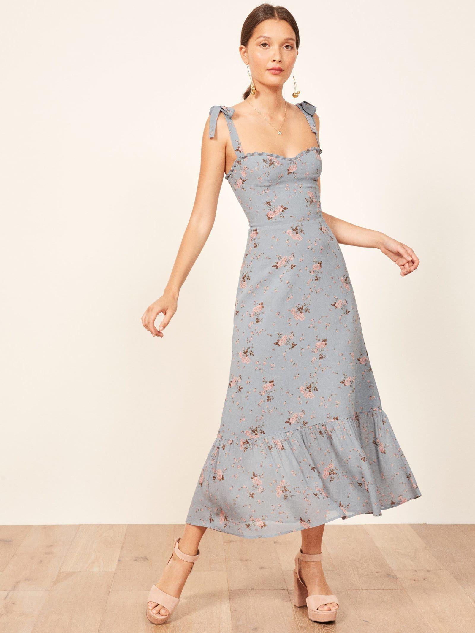 76a40aeeff3db REFORMATION Nikita Blue / Floral Printed Dress in 2019   Fashion ...