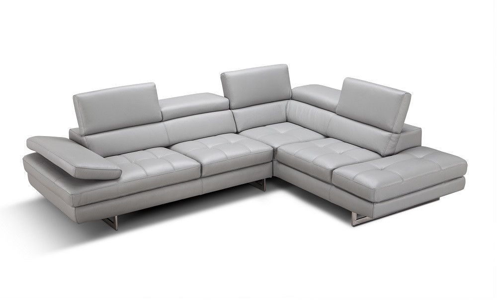 Fabulous Agata Premium Leather Sectional In Light Grey In 2019 Ocoug Best Dining Table And Chair Ideas Images Ocougorg