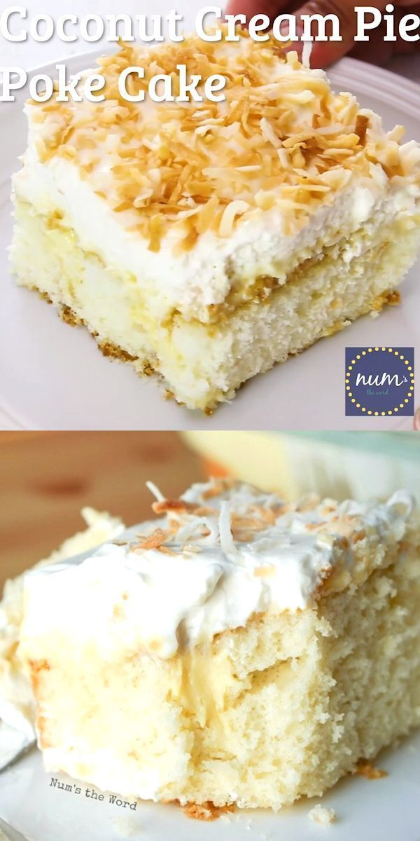 Coconut Cream Pie Poke Cake  *VIDEO* Coconut Cream Pie Poke cake is a traditional cake topped with my favorite old fashioned coconut cream pie filling, whipped cream and toasted coconut. The best of both worlds!