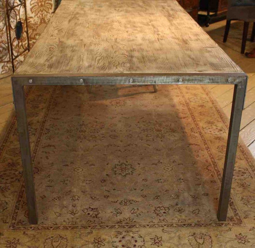 Custom Made Urban Dining Table Reclaimed Wood Top Distressed Metal Legs