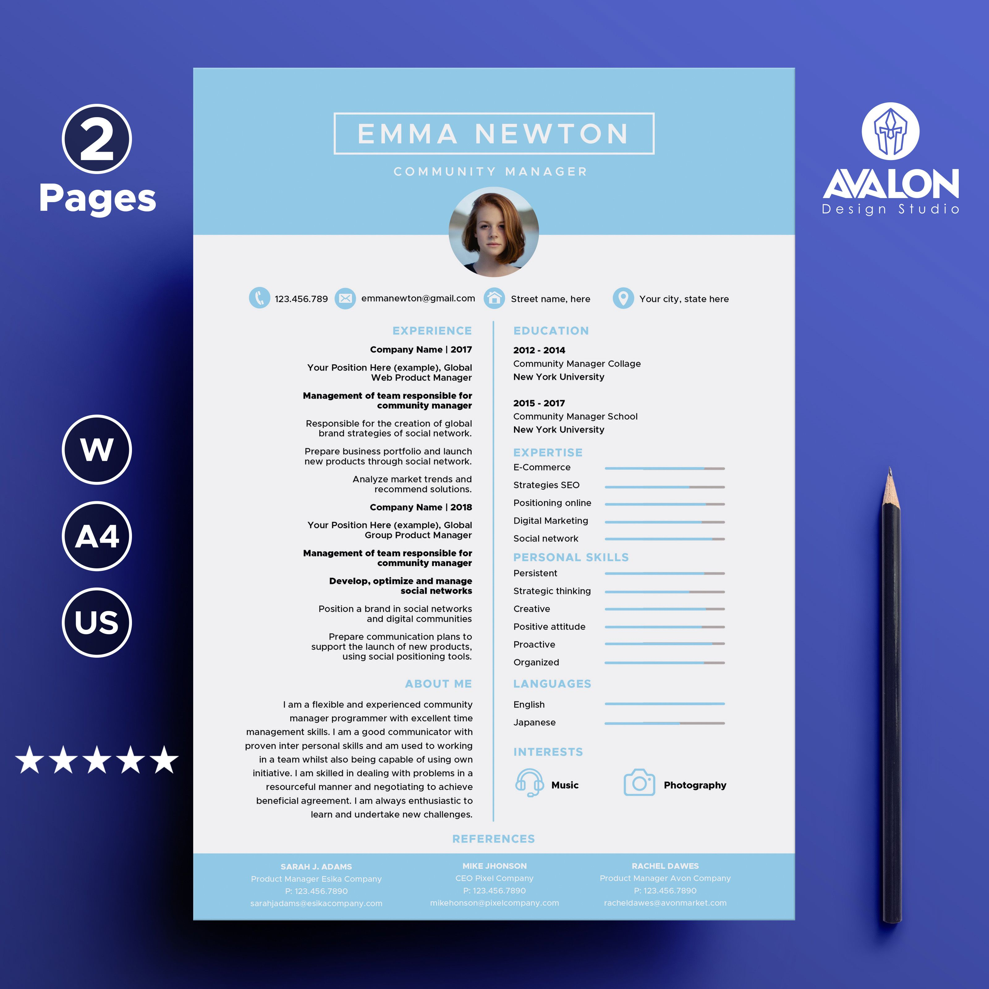 Professional Resume Template For Microsoft Word 2 Pages Creative Cv Template Instant Download Creative Cv Template Plantilla De Curriculum Plantilla Cv