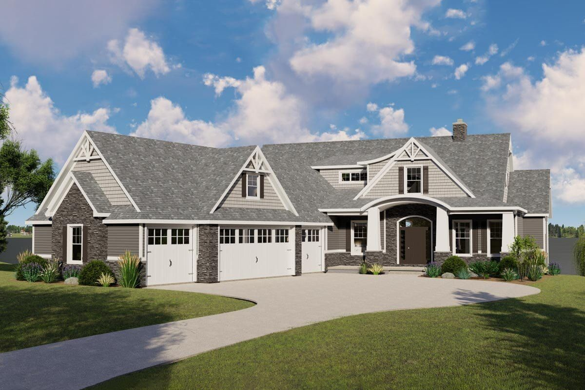 Two Story 2 Bedroom New American Craftsman with Angled Garage and a Loft Floor Plan