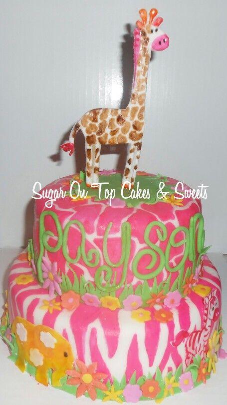 Jungle Baby Shower Cake with giraffe, zebra and elephant! Facebook.com/SugarOnTopCakes