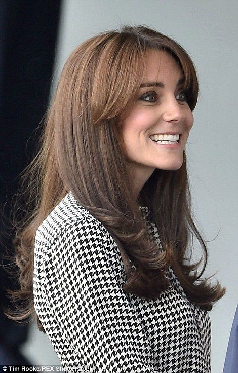 Kate, 33, was still sporting her new bangs on her first day back at work and looked trim i...