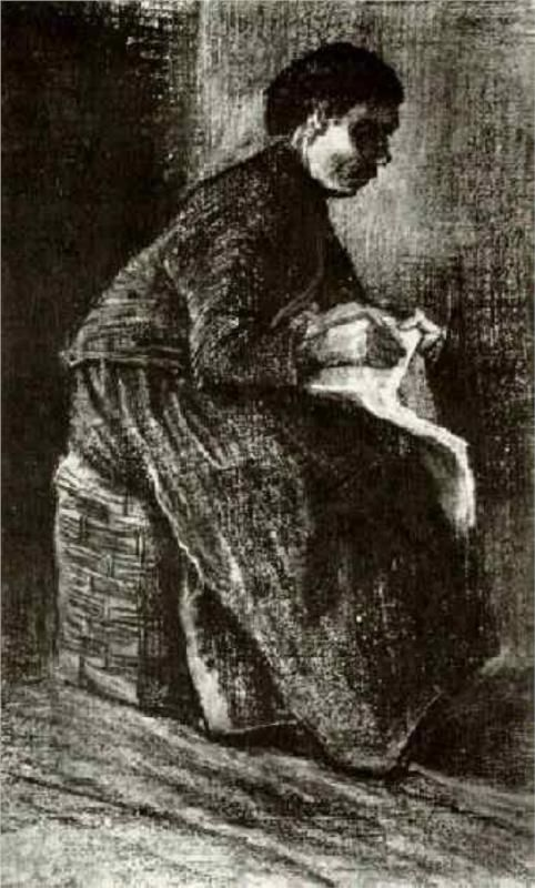 Woman Sitting on a Basket, Sewing - Vincent van Gogh, 1883