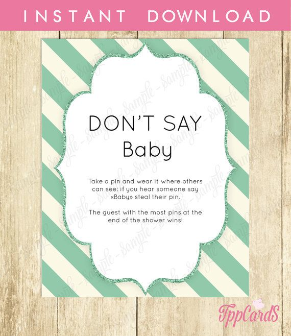 Baby Shower Clothes Pin Game Don't Say Baby Game Baby Shower Games Printable Teal Baby Shower