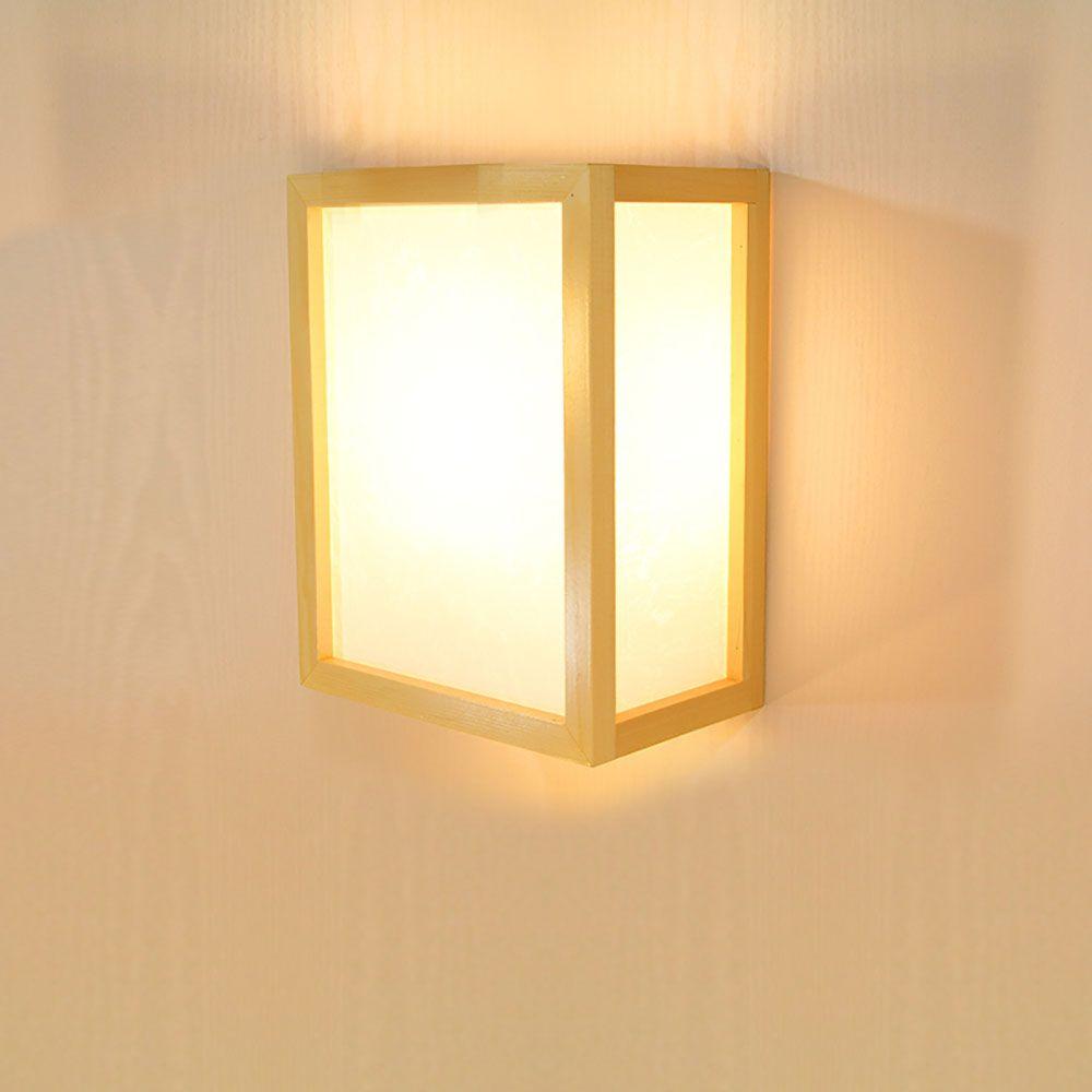 Minimalismus Wandleuchte Rechteck Aus Holz Und Acrylic Wall Lights Wall Lamps Bedroom Wooden Wall Lights
