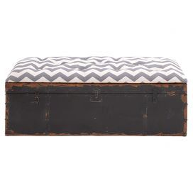 "Perfect for stowing throws in the living room or spare linens at the foot of your master bed, this rustic-chic metal storage bench showcases a tufted chevron-print cushion and a weathered grey finish. Product: Storage benchConstruction Material: Iron and fabricColor: Grey and white Features: Tufted Dimensions: 17"" H x 48"" W x 18"" D"