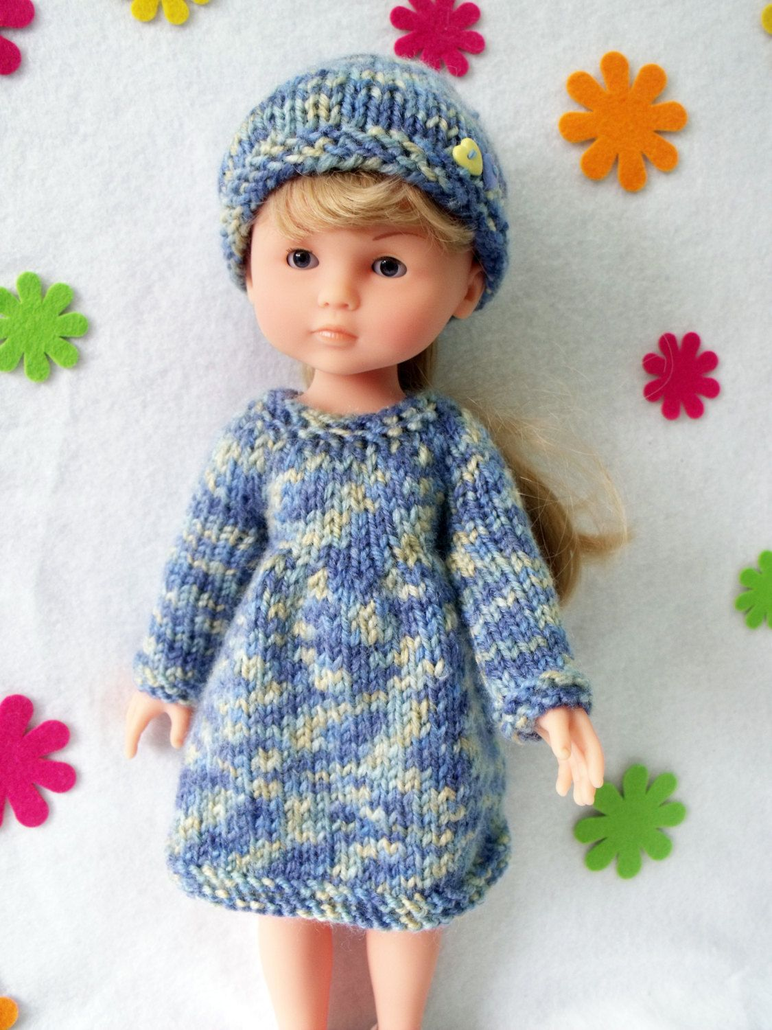 """Knitting pattern for Dress and Hat for Corolle Les Cheries doll (13""""/33cm) by CSKraft"""