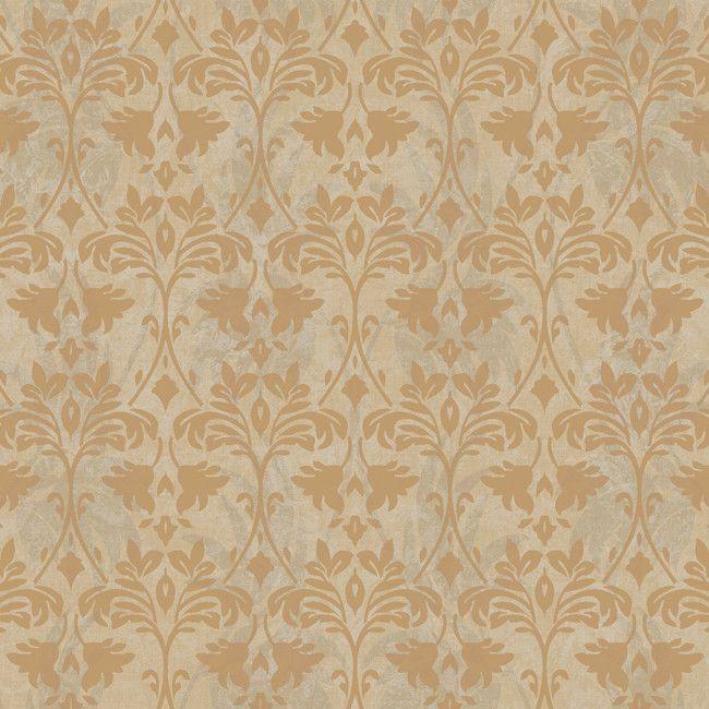 "Gentle Manor Drybrush 27' x 27"" Damask Wallpaper"